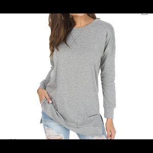 Fall Long Sleeve Side Split Loose Pullover Tunic